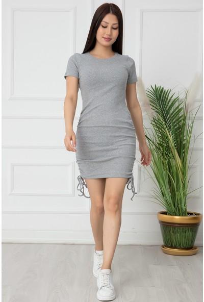 Kalopya Bayan Yanları Büzgülü Kaşkorse Elbise SHN07