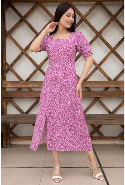 Kalopya Bayan Kare Yaka Çiçekli Şifon Elbise 54116