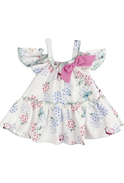Bebemania Düşük Omuzlu Fırfırlı Beyaz Bebek Elbise