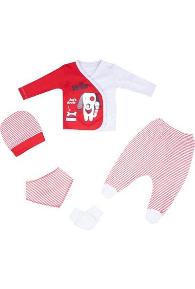 Nono Baby Erkek Bebek 5li Zıbın Seti Hello Köpek Baskılı - Kırmızı - Yenidoğan