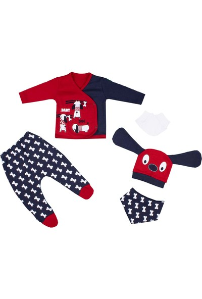 Nono Baby Erkek Bebek 5li Zıbın Seti Kulaklı Şapkalı Köpek Baskılı - Kırmızı - Yenidoğan