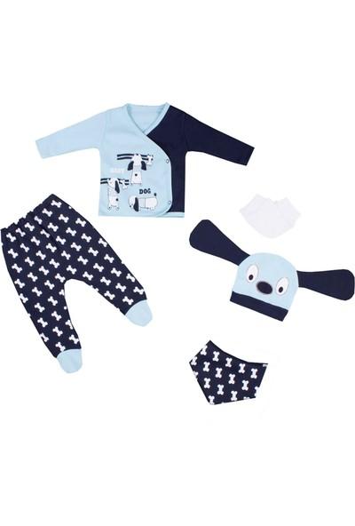 Nono Baby Erkek Bebek 5li Zıbın Seti Kulaklı Şapkalı Köpek Baskılı - Mavi - Yenidoğan