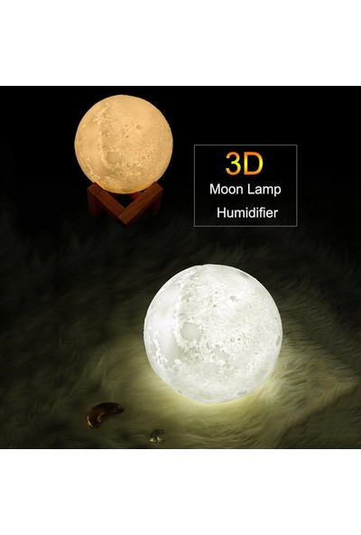 Pazariz 3D Ay Işığı Standlı Dekoratif Lamba 880ML Oda Hava Nemlendirici Buhar Makinesi Koku Giderici