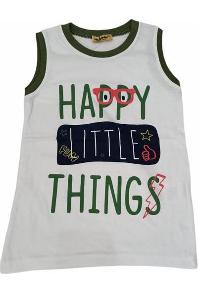 Almi Erkek Çocuk Happy Yazı Desenli Askılı Tişört