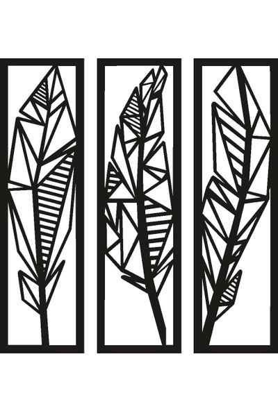 Doğal Dekor Tüyler 3'lü Duvar Tablosu