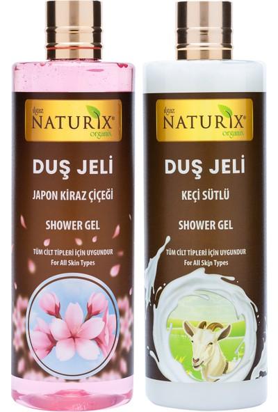 Naturix Organik Japon Kirazı Duş Jeli 400 ml + Keçi Sütü Duş Jeli 400 ml Tüm Ciltlere Aile Duş Jeli Seti