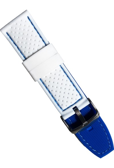 Daniel Wellington Saat Uyumlu Beyaz Renk Mavi Dikişli Akıllı Pimli Silikon Saat Kordonu