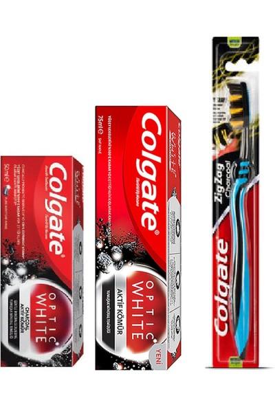 Colgate Optıc Aktif Kömür 3'lü Set 75+50 ml Macun Diş Fırçası