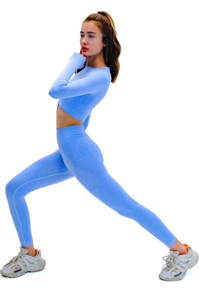 Batex Uzun Kollu Dikişsiz Spor Tişört   Crop Tops  mavi
