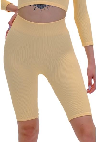 Batex Yüksek Bel Biker Şort  Seamless Örme sarı