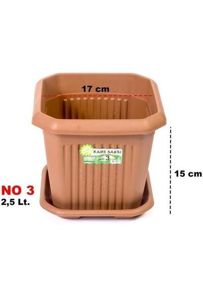 3 No Plastik Kare Saksı 2,5 Lt