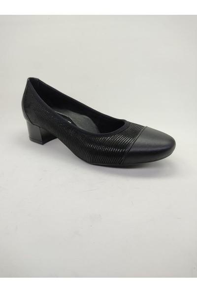 Kısa Topuklu Siyah Kadın Ayakkabı