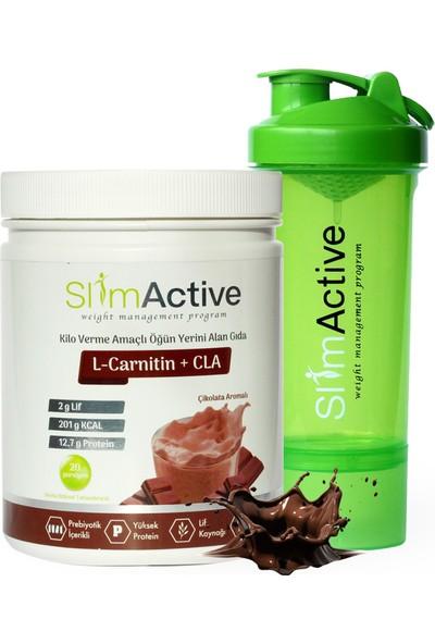 Slim Active Kilo Verme Amaçlı Öğün Yerini Alan Gıda Aromalı Süt Protein L-Carnitin Cla Prebiyotik Stevia Shaker Hediyeli
