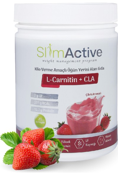 Slim Active Kilo Verme Amaçlı Öğün Yerini Alan Gıda Aromalı Süt Protein L-Carnitin Cla Prebiyotik Stevia Shaker