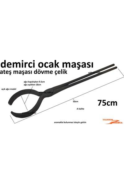 Yıldırım Demirci Ocak Maşası 75CM Yuvarlak Açık Ağız Model Demirci Köz Ateş Maşası Dövme Çelik Körük Uzun Boy