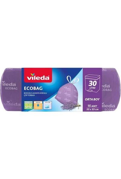 Vileda Ecobag Büzgülü Çöp Torbası Lavanta Kokulu 55X55CM Orta Boy 15LI
