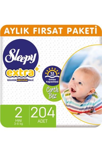Sleepy Extra Aylık Fırsat Paketi Günlük Aktivite Bezi 2 Numara Mini 204'lü
