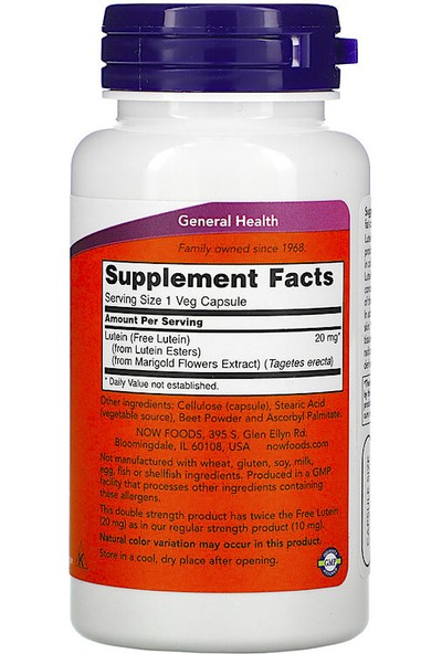 Now, Lutein, Double Strength, 90 Veg Capsules