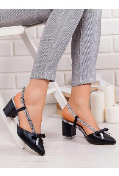 Point Felicia Topuklu Ayakkabı Siyah-Yılan