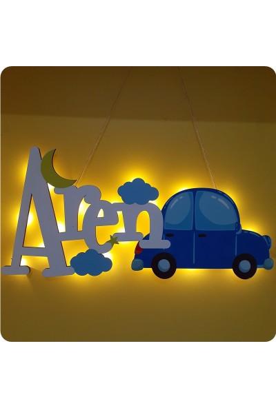 Deniz Tasarım Arabalı Bebek / Çocuk Odası Kapı ve Duvar Süsü Işıklı Isme Özel
