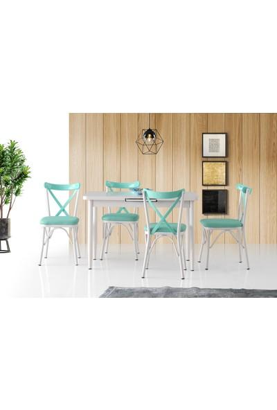 Silva Açılır Masa Beyaz 4 Adet Çapraz Sandalye Takım