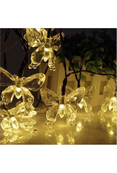 Schulzz 30 LED 4 M Güneş Enerjili Kelebek Gün Işığı 8 Mod LED Bahçe Teras Balkon Ağaç Solar Aydınlatma