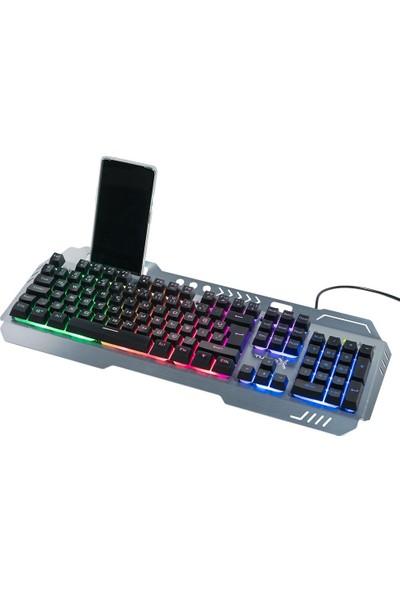 Turbox HeatCycle TR-GK104 USB Kablolu Gri/Siyah Gaming Işıklı Metal Kasa Bilek Padli Klavye