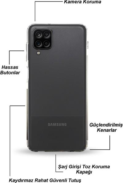 Kzy Samsung Galaxy M12 Tıpalı Kamera Korumalı Şeffaf Premier Kılıf