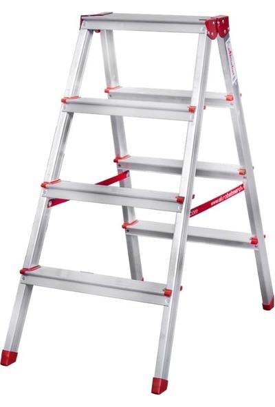 Akrobat 4 Basamaklı Çift Çıkışlı 4+4 Alüminyum Merdiven