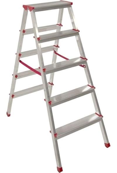 Akrobat 5 Basamaklı Çift Çıkışlı 5+5 Alüminyum Merdiven