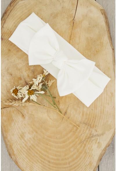 Babygiz El Yapımı Yumuşak Fiyonk Bağlamalı Doğal Pamuklu Penye 2'li Bebek Çocuk Kız Bandana Beyaz Turuncu