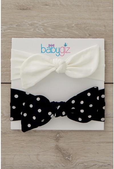 Babygiz El Yapımı Yumuşak Tavşan Kulak Doğal Pamuklu Penye 2'li Bebek Çocuk Kız Bandana Siyah Beyaz
