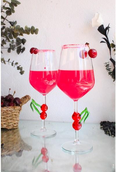Adamodart Kiraz Figürlü Murano El Yapımı Cam Şarap Kadehi 2'li Set