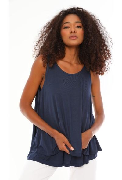 Alfa Abiye Kadın Büyük Beden Askılı Bol Kesim Bluz 770