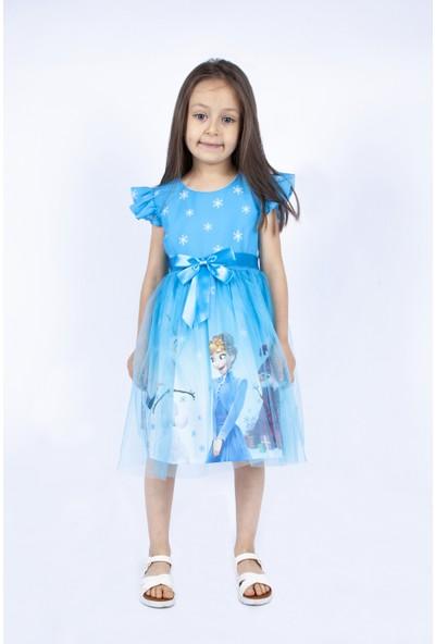 Pumpido Mavi Karlar Kraliçesi Elsa Elbisesi