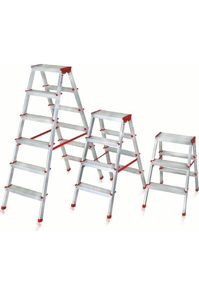 Akrobat 3 Basamaklı Çift Çıkışlı 3+3 Alüminyum Merdiven