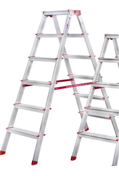 Akrobat 6 Basamaklı Çift Çıkışlı 6+6 Alüminyum Merdiven