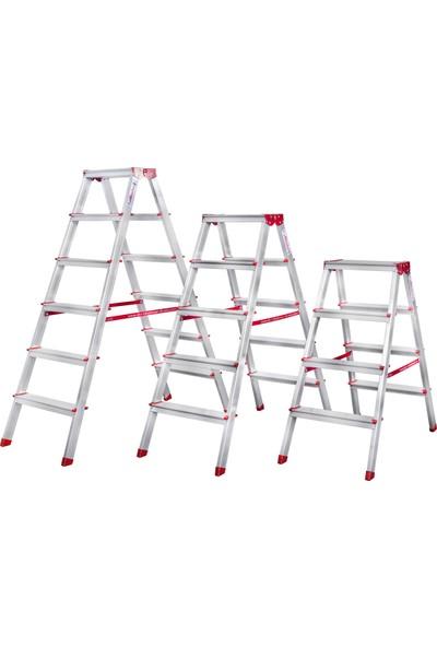 Akrobat 7 Basamaklı Çift Çıkışlı 7+7 Alüminyum Merdiven