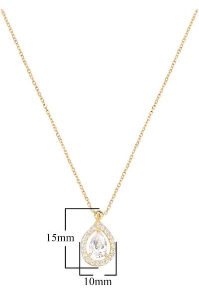 Coşar Silver Pırlanta Montür Damla Taşlı Kenarları Taş Süslemeli 14 Ayar Altın Kaplamalı Gümüş Kolye