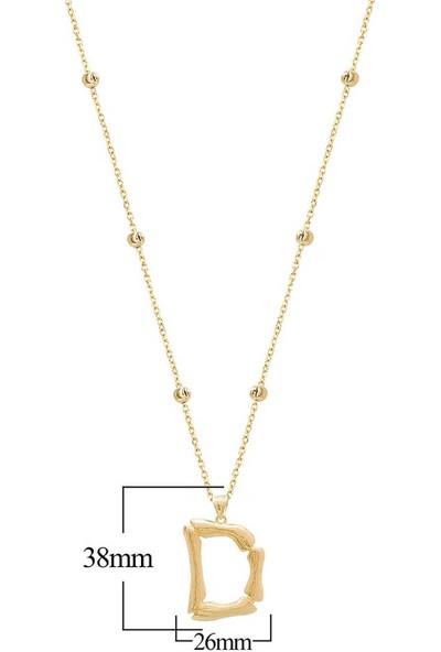 Coşar Silver Altın Kaplama Bambu Desenli D Harfi Gümüş Kolye