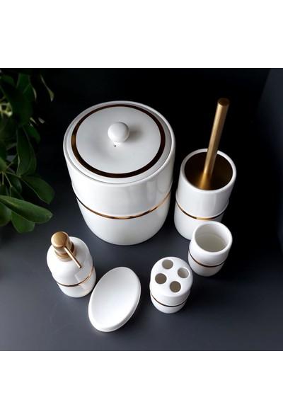 Hometarz Porselen Gold Banyo Wc Takımı 6'lı Sabunluk Fırçalık Set