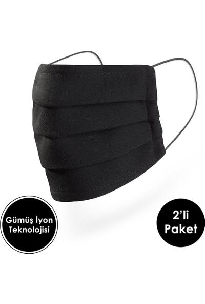 Mutlu Maske Gümüş Iyonlu Antiviral Siyah Renkli Yıkanabilir Kumaş Koruyucu Maske 2'li Paket