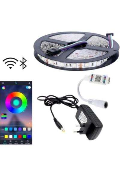 Rgb LED Bluetooth Özellikli - 5 Metre 5050 Smd Iç ve Dış Mekan 3 Çip Sese ve Müziğe Duyarlı Rgb Şerit LED Tak Çalıştır Set