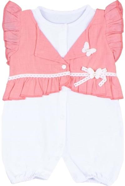 Kız Bebek Tulum Dokuma Ceketli Fiyonklu - Nar Çiçeği - 0-3 Ay