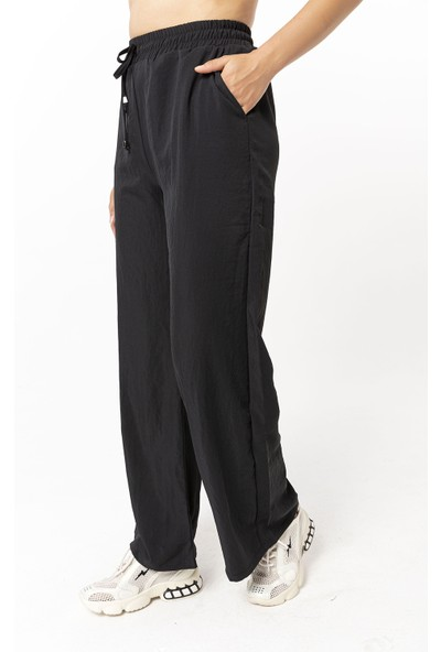 Coral Beli Lastikli Bol Paça Pantolon Siyah
