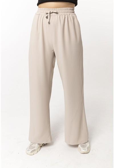 Coral Beli Lastikli Bol Paça Pantolon Taş