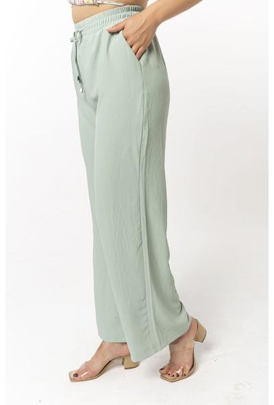 Coral Beli Lastikli Bol Paça Pantolon Açık Mint