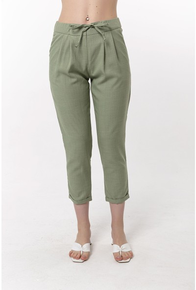 Coral Keten Havuç Pantolon Çağla Yeşili