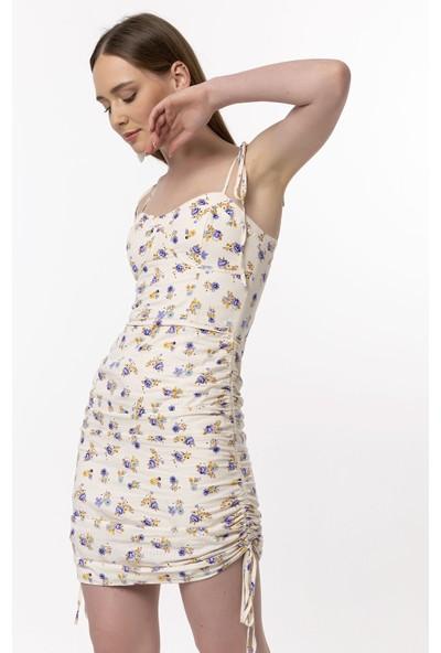 Coral Büzgü Detaylı Askılı Elbise Mor
