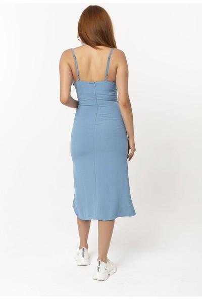 Coral Ip Askılı Yırtmaçlı Elbise Mavi